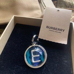 Authentic BURBERRY Silver E crystal ball Keychain/charm/pendant